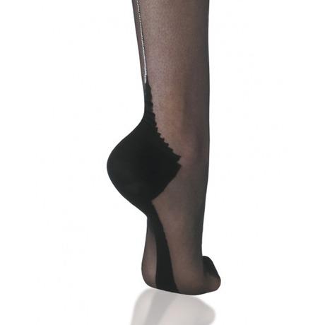 CERVIN Bas nylon couture 15 deniers Séduction Couture Lurex Noir/Argent