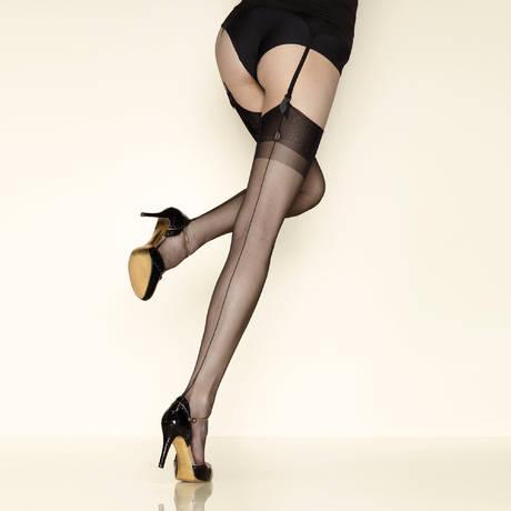 GERBE Bas nylon couture 10 deniers Carnation Noir