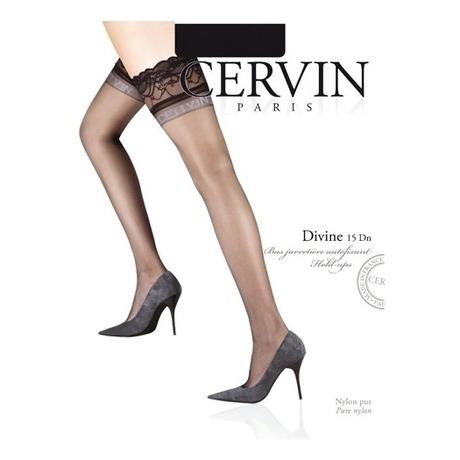 CERVIN Bas nylon autofixant 15 deniers Divine Noir