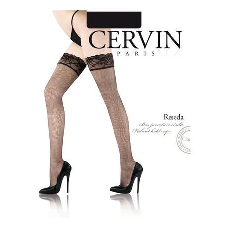CERVIN Bas résille autofixant Reseda Noir