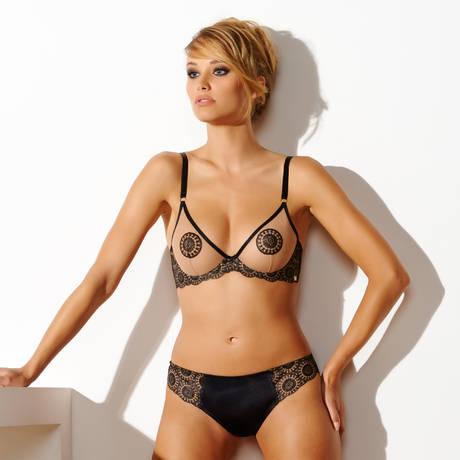 MILLESIA Soutien-gorge triangle armatures Mutine Noir/Nude