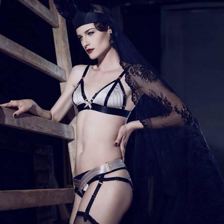 Culotte porte-jarretelles Cabaret Noir/Beige