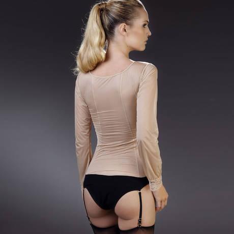 MAISON CLOSE Body culotte manches longues porte-jarretelles La Cavalière Noir/Rose Pâle