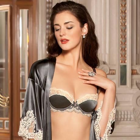 Soutien-gorge corbeille en soie Glamour Soie Dark Swan