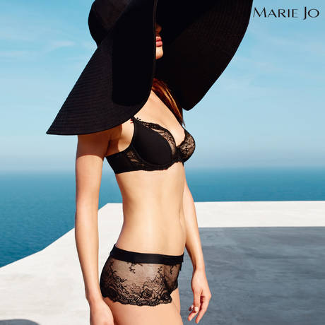 MARIE JO Soutien-gorge balconnet décolleté profond Black Lace Noir