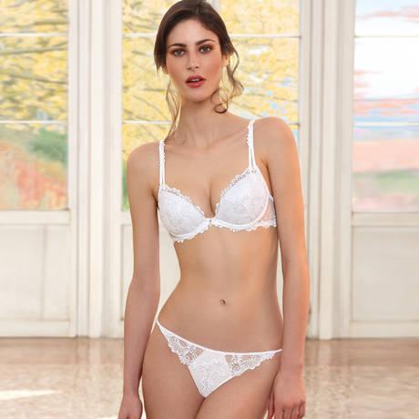 String sexy Dressing Floral Blanc