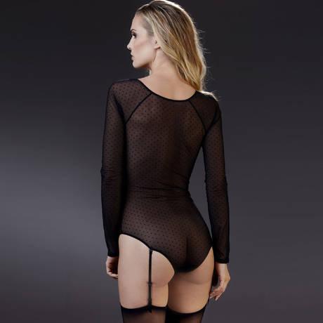 Body culotte col V manches longues porte-jarretelles Rue des Demoiselles Noir