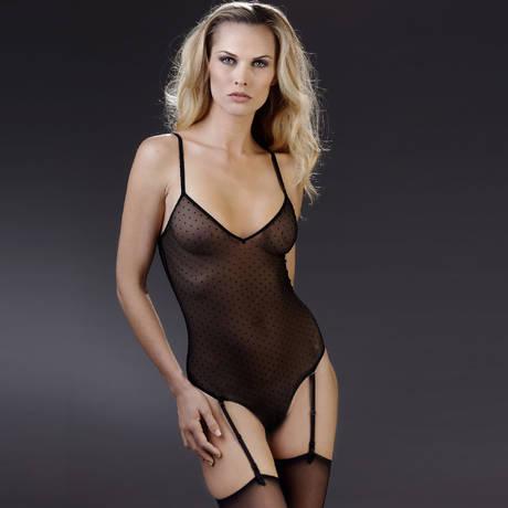 Body string col V porte-jarretelles Rue des Demoiselles Noir
