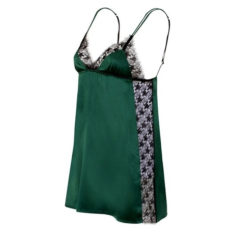 Nuisette courte en soie Stay Vert/Noir