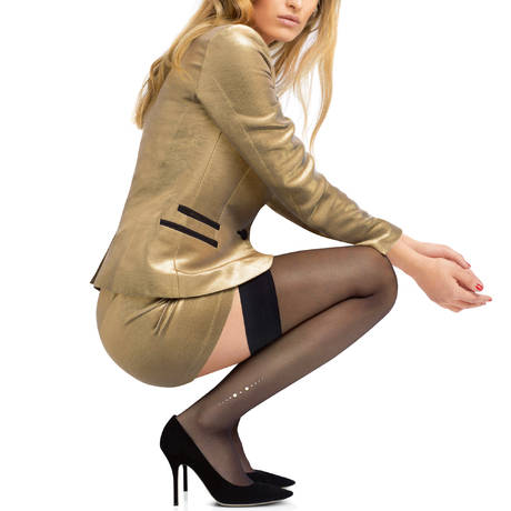 LE BOURGET Bas autofixant Perle Couture Noir