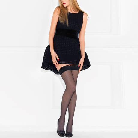 LE BOURGET Bas autofixant résille Couture Noir