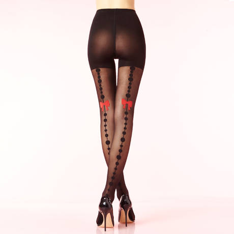 CHANTAL THOMASS Collant 20 deniers A Croquer Les Bas et Collants Noir/Rouge