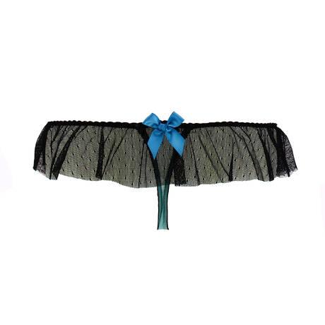 LES JUPONS DE TESS String à volant LJT Londres Noir/Vert d'eau