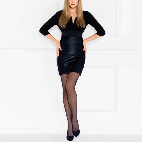LE BOURGET Collant résille Couture Noir