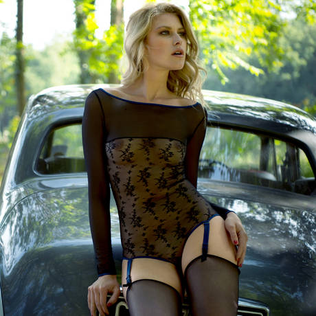 Body string porte-jarretelles Vertige d'Amour Noir/Bleu Nuit