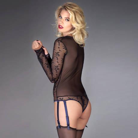 MAISON CLOSE Body tanga porte-jarretelles Vertige d'Amour Noir/Bleu Nuit