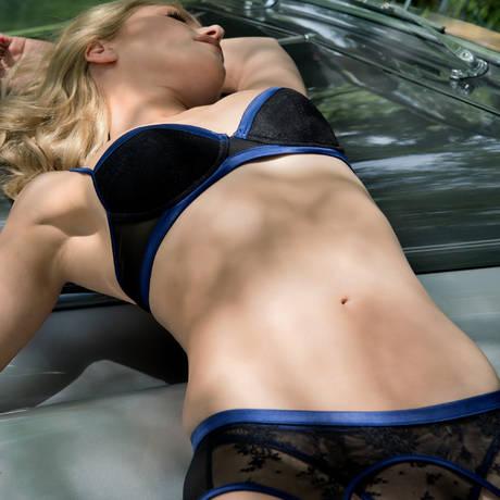Soutien-gorge push-up Vertige d'Amour Noir/Bleu