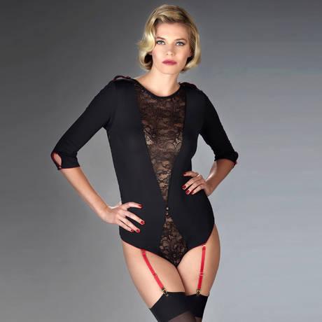 MAISON CLOSE Body string porte-jarretelles Armée des Sens Noir/Rouge