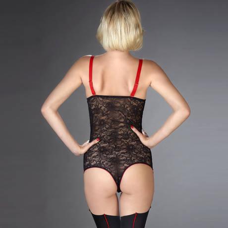 Body string seins nus porte-jarretelles Armée des Sens Noir/Rouge
