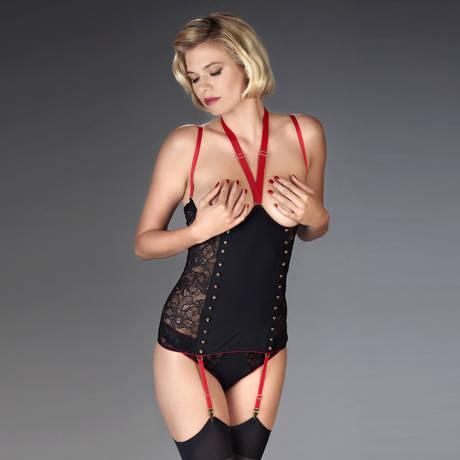 MAISON CLOSE Combinaison seins nus Armée des Sens Noir/Rouge
