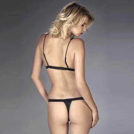MAISON CLOSE Body triangle string Villa Satine Noir