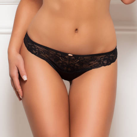 GOSSARD String Glamour Lace Noir/Nude