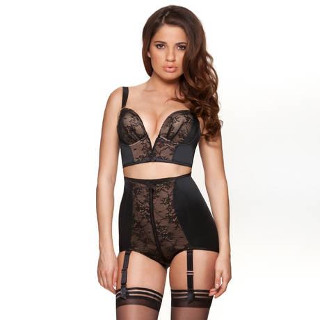 Culotte haute porte-jarretelles Retrolution VIP Noir/Nude