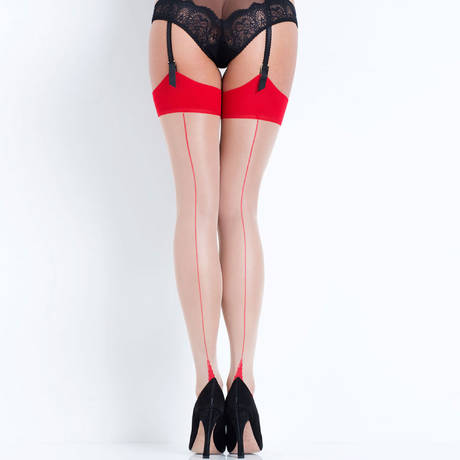 L'AGENT BY AGENT PROVOCATEUR Bas couture Hosiery Beige/Rouge
