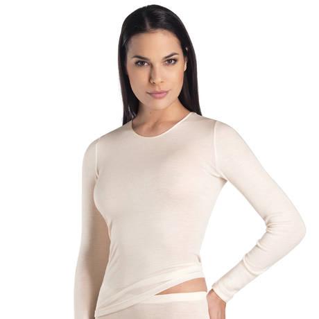 Tee-shirt manches longues en soie Woolen silk Cygne
