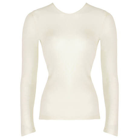 HANRO Tee-shirt manches longues en soie Woolen silk Cygne
