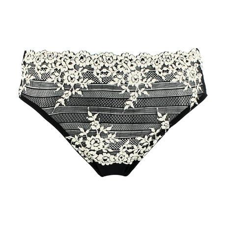 WACOAL Culotte Embrace Lace Noir/Blanc