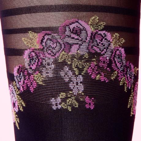 Collant Jarretière en Fleur Les Bas et Collants Noir