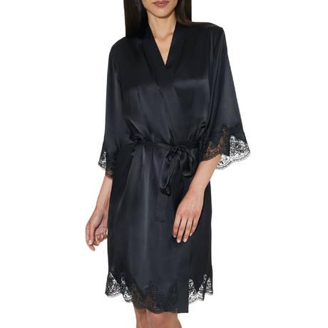 AUBADE Déshabillé kimono en soie Rive Gauche Passion Noir