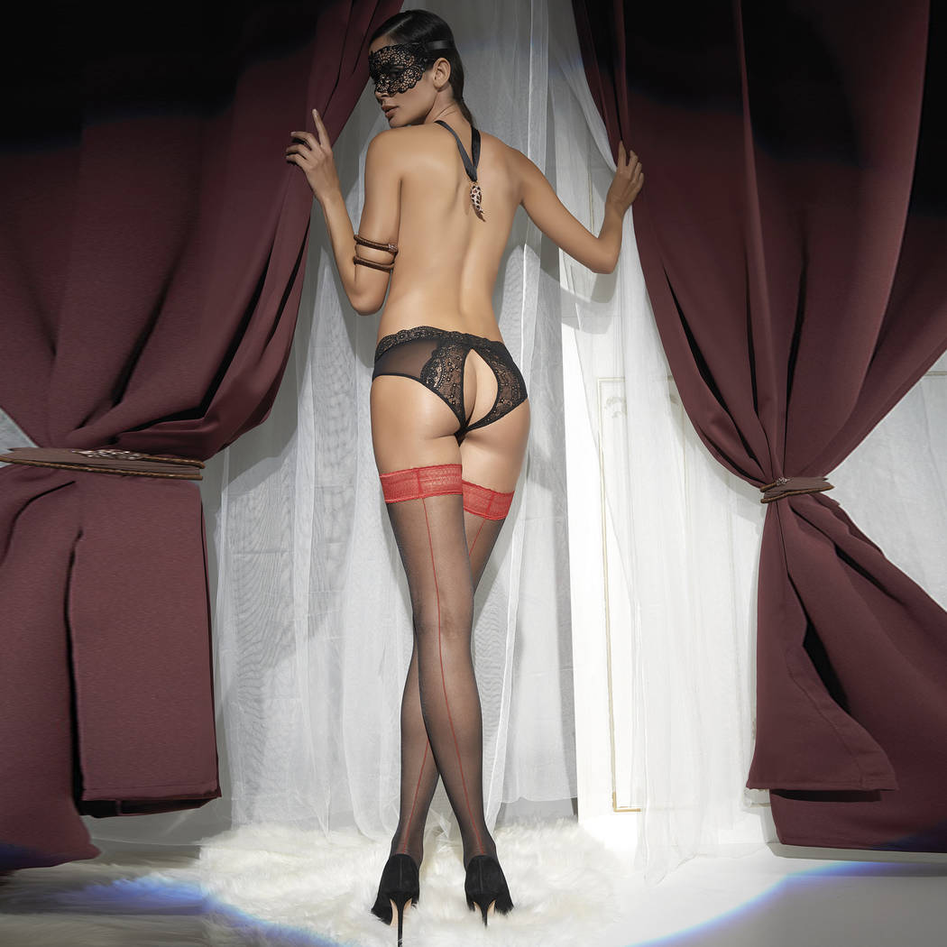 TRASPARENZE Bas couture Jessy Noir/Rouge