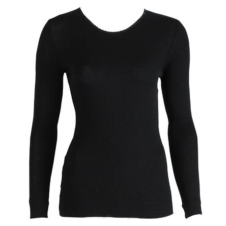 Top manches longues coton Termotex Noir