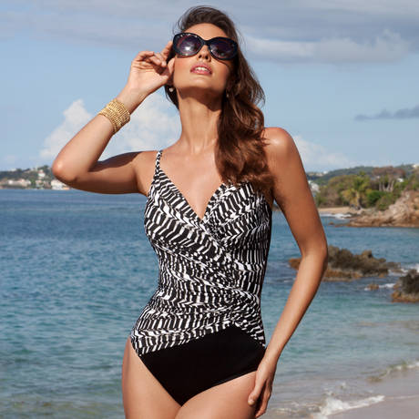 MIRACLESUIT Maillot de bain 1 pièce Aragon Between The Pleats Noir/Blanc