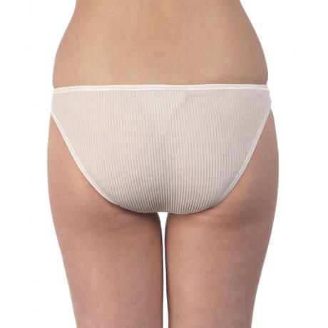 Slip côtelé coton fil d'écosse Blanc