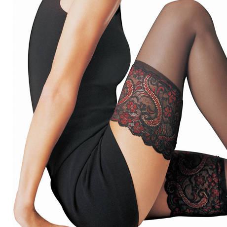 LE BOURGET Bas autofixant 15 deniers Essentiel Les Dessous Chics Noir/Rouge