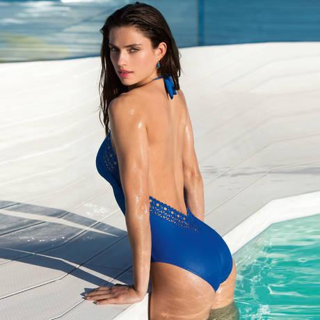 Maillot de bain 1 pièce nageur séduction Ajourage Couture Etrave Bleu