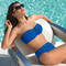 LISE CHARMEL Maillot de bain bandeau bonnets profonds Ajourage Couture Bleu