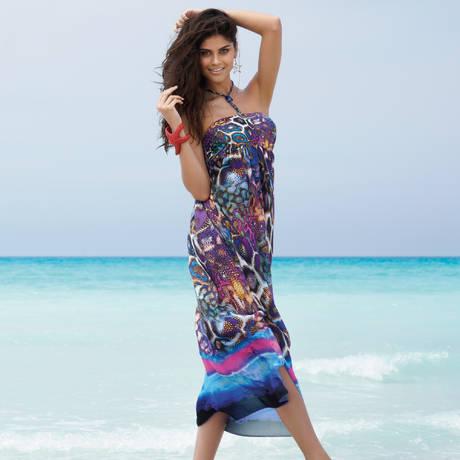 Robe de plage longue La Coralienne Magie Corail