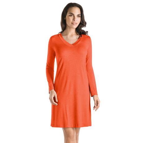 Chemise de nuit manches longues Champagne Passionate Red