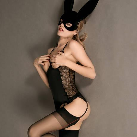 Guêpière seins nus La Directrice Noir