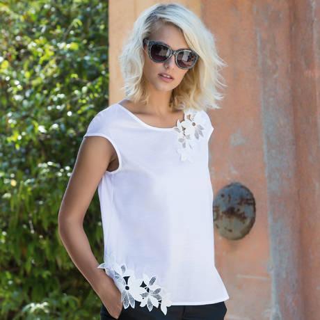 OSCALITO Top en coton fil d'écosse Summer Mood Blanc