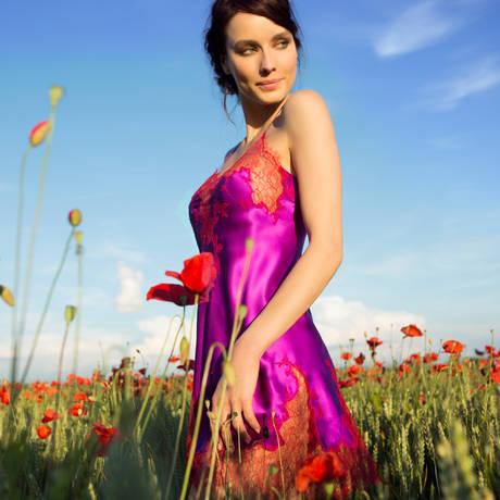 Nuisette en soie Baccarat Orchidée Rouge