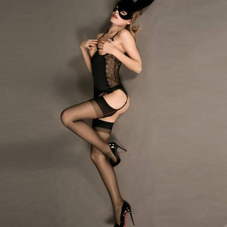 Bas couture voile Les Coquetteries Noir/Rouge