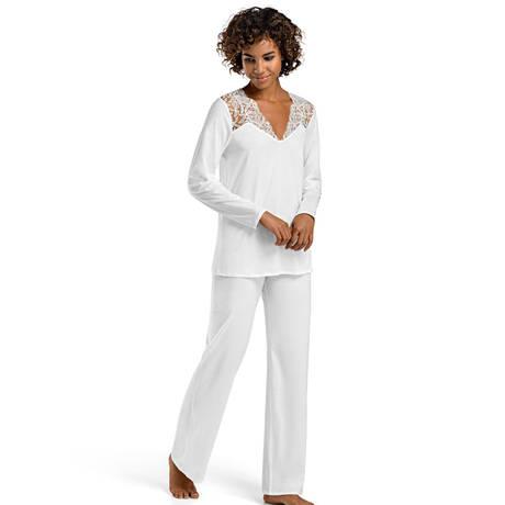 HANRO Pyjama Daphne Blanc