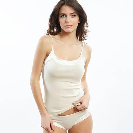 Culotte en coton fil d'écosse Blanc cassé