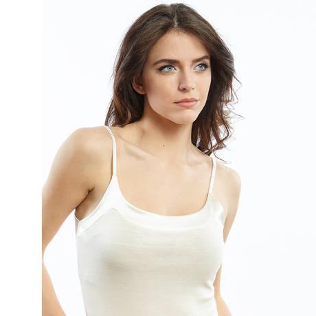 Top en laine mérinos et soie Blanc cassé