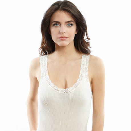 OSCALITO Body en laine mérinos et soie Blanc cassé